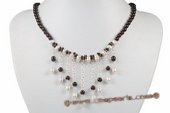 Gsn149 Stylist 925Silver Cultured Pearl and Garnet Princess Necklace