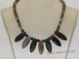 gsn176  Handmade round agate necklace drop with facet agate bead