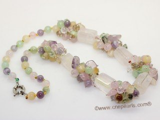 gsn188 Stylist Pink Quartz  and Green Jade Princess Necklace