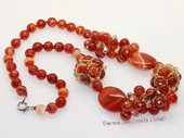 gsn197 Hand made red agate  necklace jewelry