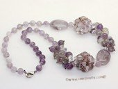 gsn198 Hand made 8mm amethyst  necklace jewelry