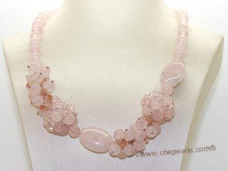 gsn199 Hand made pink quatz  necklace jewelry