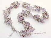 gsn206 Baroque gemstone beads&amethyst neckalce jewelry