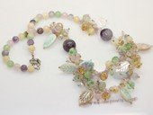 gsn214 Stylist Mix color  Gemstone and Shell Beads Princess Necklace