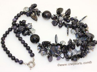 gsn215 Stylist Blue Sandstone and Shell Beads Princess Necklace