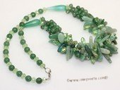 gsn223 Beautiful gemstone jewelry necklace mixed with round and  baroque jade beads