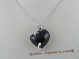 gsp017 30mm heart shape black agate gem stone sterling silver pendant