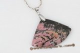 gsp107 35*48mm Fanlike Rhodonite Stone Pendant Necklace