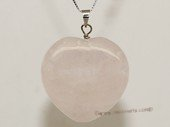gsp108 30mm Heart Shape Rose Quartz Pendant Necklace