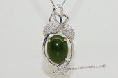 gsp138  Sterling silver green jade  pendant with zircon beads