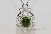 gsp139 Sterling Silver Flower Design Jade  Pendant Zircon Bead accent