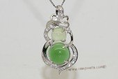 gsp140 Calabash Flower Cubic Zircon 925 Sterling Silver  Agate Pendant