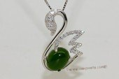 gsp141 Sterling silver swan shape jade pendant with zircon beads