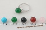 Gsr001 Sterling Silver Ring 10mm round green jade beads.US SIZE 7