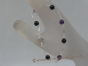 hbr003 black agate & Amethyst holiday bracelet in sterling chain