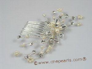 hj003 chandelier pearl bridal comb jewelry