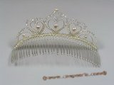 hj005 Gorgeous heart design pearl & crystal costume Bridal Comb