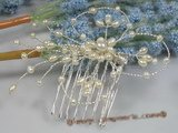 hj009 chandelier pearl Bridal Comb in wholesale