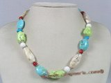 HN001 Festive multi-color turquoise necklace