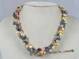 hn002 6-7mm muti-colour double shiny pearl Holiday necklace