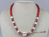 HN003 8mm red round coral beads holiday necklace