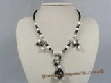 HN006 pearl and smoky quartz beads holiday's neckalce