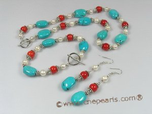 HNSET003 Unusual fiesta oval turquoise necklace bracelets and earrings set