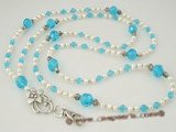holder001 Blue crystal and pearl rope necklace Lanyard ID badge holder