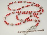 holder002 Handcrafted Red Coral & cloisonne beads ID Badge holder lanyard in factory price