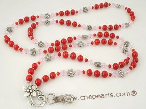 holder004 Cherry coral and faceted crystal bead Lanyard ID badge holder