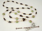 holder010 Handcrafted Garnet & cloisonne beads ID Badge holder lanyard on sale