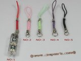 hsg006 sterling long cage strap lanyards handset charms with multicolor pearl