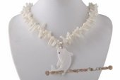 Ipn004 White Branch Coral Princess Necklace with Shark shape Pendant