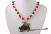 Ipn007 White and Red Coral Beads Island style Necklace with Turtle Pendant