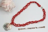 Ipn012 Hand Crafted Red Coral Ocean Style Necklace with Shell pendant