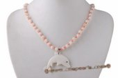 Ipn018 Fashion Pink Coral and Shell Pendant Princess Necklace