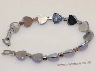 Jbr018 Silver-toned heart shape Gemstone Bangle Bracelet