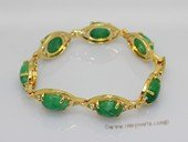 Jbr026 Gold-toned Jade Gemstone Bangle Bracelet with Zircon