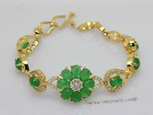 Jbr031 Gold-toned Jade Gemstone Bangle Bracelet with Zircon