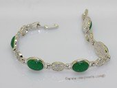 jbr033 Silver tone Stunning gemstone Chinese character Link Bracelet