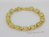 Jbr035 Gold-toned Jade Gemstone Bangle Bracelet with Zircon