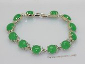 Jbr036 Silver Toned 10mm Round Jade Gemstone Bangle Bracelet