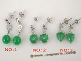 Je011 Direct wholesale Five pairs green jade stud earrings inlaid rhinestones