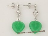 Je013 wholesale five pairs silver plated studs and dangler jade earring in heart shape