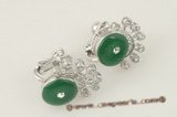 Je016 sterling silver oval drop green jade screwback Non Pierced clip earring