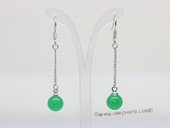 Je036 wholesale silver tone dangle earring with jade gemstone