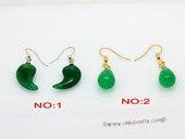 je037 Silver tone jade green color gemstone earring