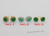 je040 Fashion green color jade gemstone earring