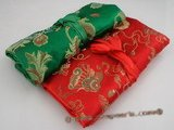 Roll001 10pcs Colorful Silk Brocade Travel Jewelry Roll