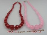 jn005 wholesale gradual change round jade beads necklace